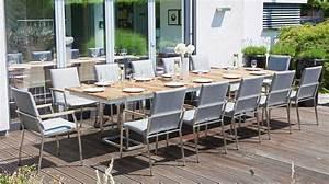 Geschirrset Für 12 Personen : outdoor tisch robuster gartentisch terrassentisch aus edelstahl und massivholz f r 12 personen ~ Orissabook.com Haus und Dekorationen