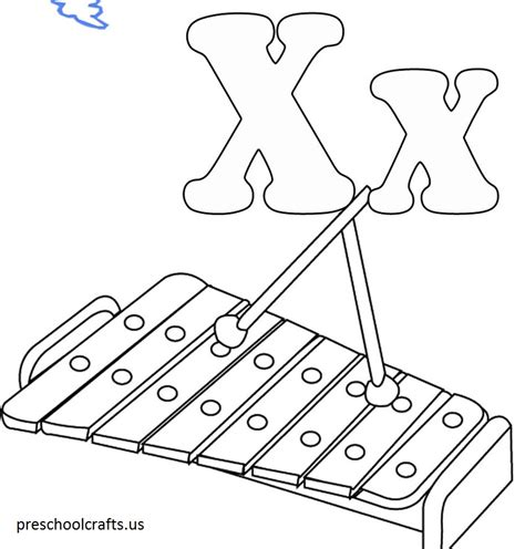 Coloring X Letter Page by Alphabet X Coloring Page Preschool Crafts