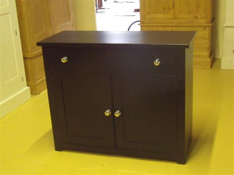 Painted Pitch Black 1 Drawer Sideboard With Chrome Knobs