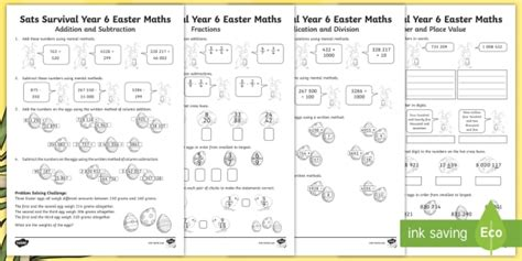 * New * Sats Survival Year 6 Easter Maths Revision Activity Pack