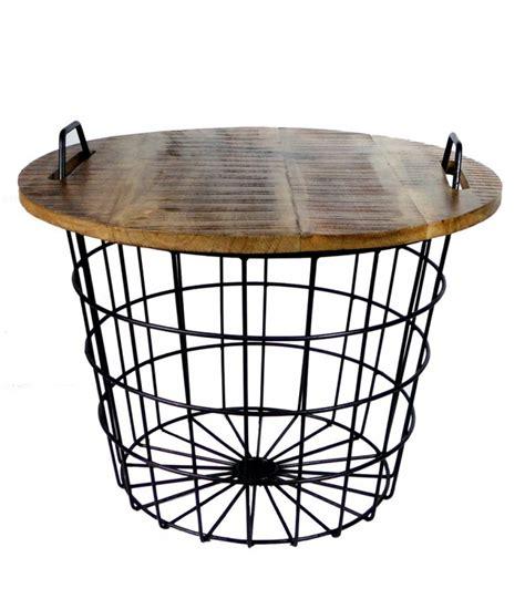 boites rangement bureau table basse ronde style industriel en bois et métal flexo