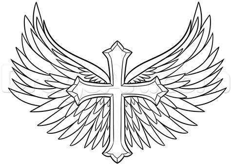 how to draw a cross with wings step by step symbols pop