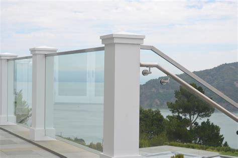Stainless Steel Balcony Posts by Tiburon Deck Rail And Glass Stairwell Ot Glass