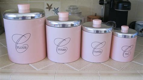 Pink Kitchen Canisters by Vintage Pink U0026 Copper Retro Ransburg Nesting Canister