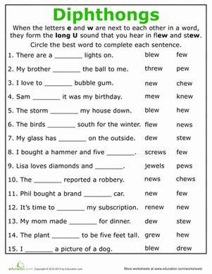 practice reading vowel diphthongs ew phonics phonics