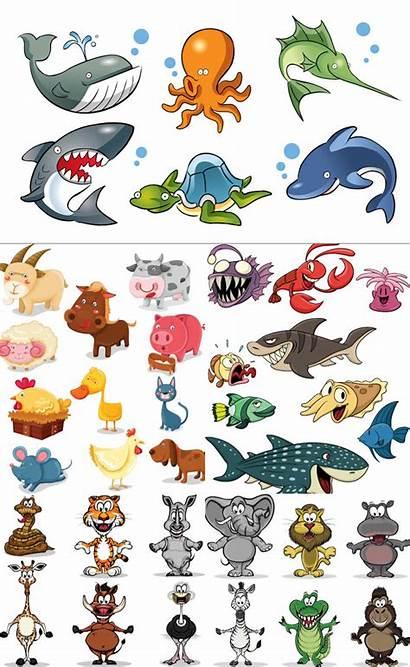 Animals Cartoon Vector Wild Animal Sea Creatures