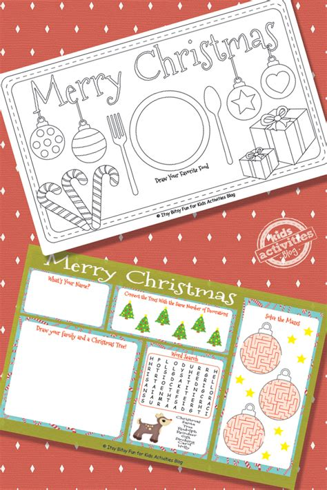 decorate  printable christmas placemats