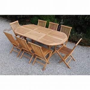 Salon Jardin Teck : salon de jardin 8 personnes chinon teck massif achat ~ Melissatoandfro.com Idées de Décoration