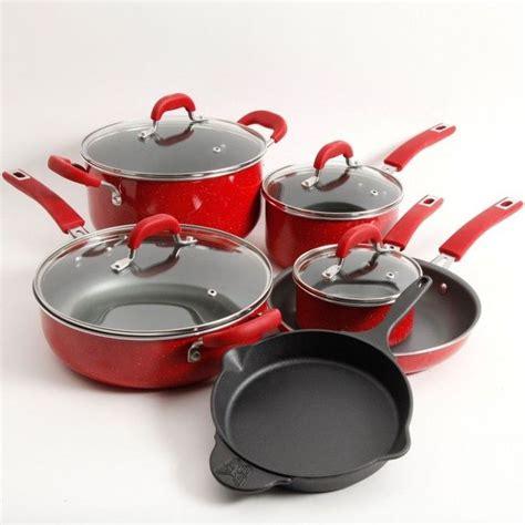 cookware set nonstick aluminum  piece red speckled color