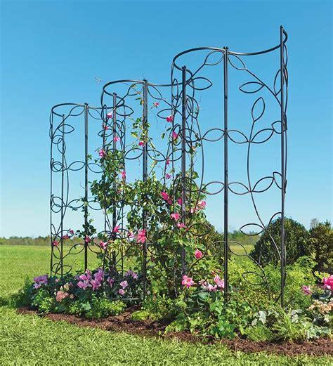 Metal Garden Trellis With Tree Of Design steel leaf obelisk trellis collection accessories
