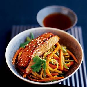 Japanese Style Salmon with Noodle Stir Fry Woman And Home