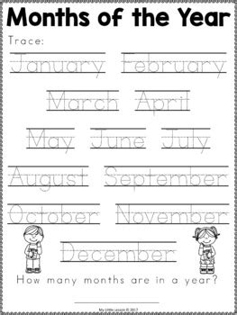 months of the year worksheets by my lesson tpt