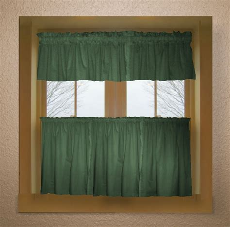 solid green colored caf 233 style curtain includes 2 valances and 2 kitchen curtain panels