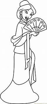 Mulan Coloring Pages Fan Hand Japanese Princess Printable Pdf Coloringpages101 Getcolorings Cartoon Hua Adults Mushu Emperor Movies sketch template