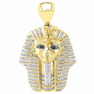 10K Yellow Gold Round Genuine Diamond Egyptian Pharaoh ...