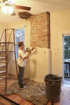 remove plaster   brick chimney diy exposed