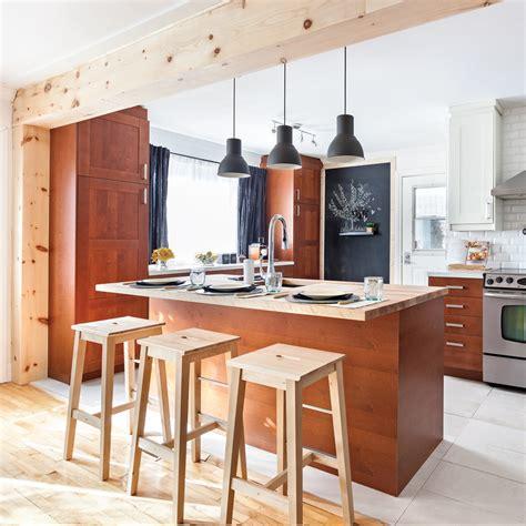 cuisine aire ouverte cuisine à aire ouverte complètement transformée cuisine avant après décoration et