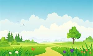Vector illustration of a beautiful summer landscape ...