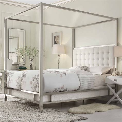 mesure canap bedroom modern white stained solid wood canopy bed with