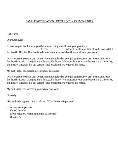 sample employee termination letters word  pages
