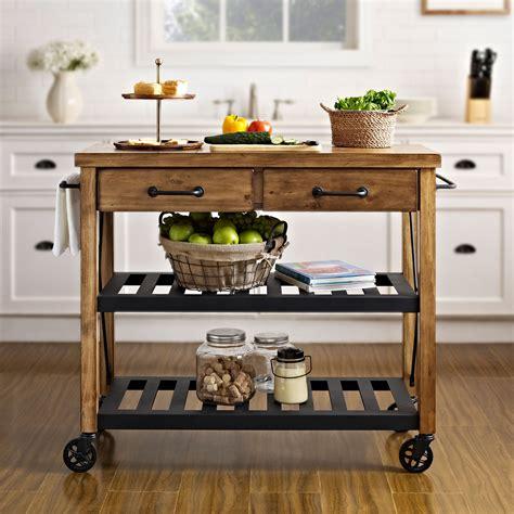 roots rack natural industrial kitchen cart crosley