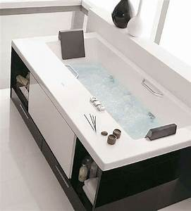 Diy bathtub surround storage ideas hative for Can you put a tv in the bathroom