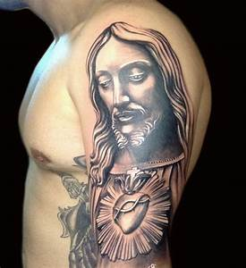 Black Ink Jesus With Cross Tattoo On Man Left Half Sleeve