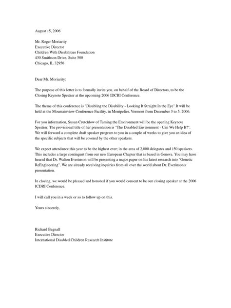 invitation letter invite conference speaker
