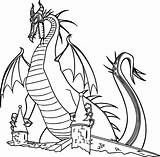 Dragon Sleeping Beauty Coloring Pages Printable Dragons Maleficent Cartoon Castle Categories sketch template