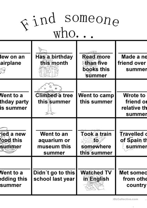 Find Someone Who Worksheet  Free Esl Printable Worksheets Made By Teachers