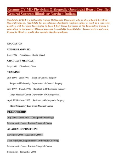 Surgical Orthopedic Resume by Resume Cv M D Physician Orthopedic Oncologist Board