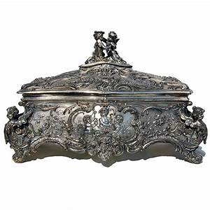 Antique Wmf Silver Jewelry Box With Cupid Motif For Sale