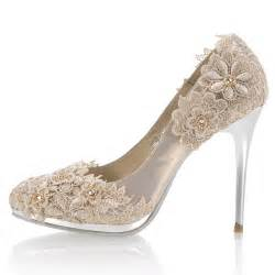 wedding shoes heels high heel closed toes lace crystral chagne wedding shoes flowerweddingshoes