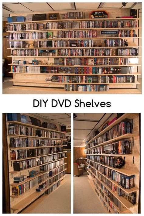 diy dvd shelves  large collection wall mounted shelves