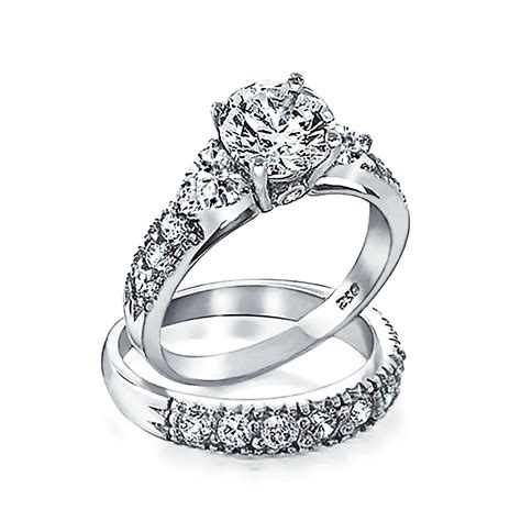 silver clear cz heart side stones wedding engagement