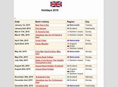 Free Public Holidays 2019 Calender with USA, UK, UAE