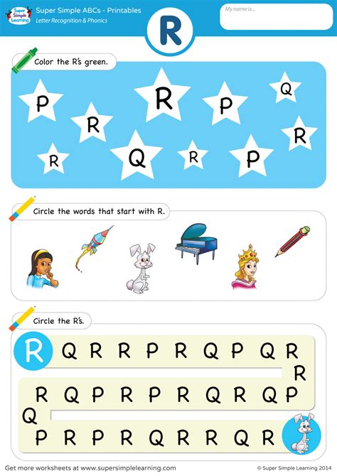 Letter Recognition & Phonics Worksheet  R (uppercase)  Super Simple