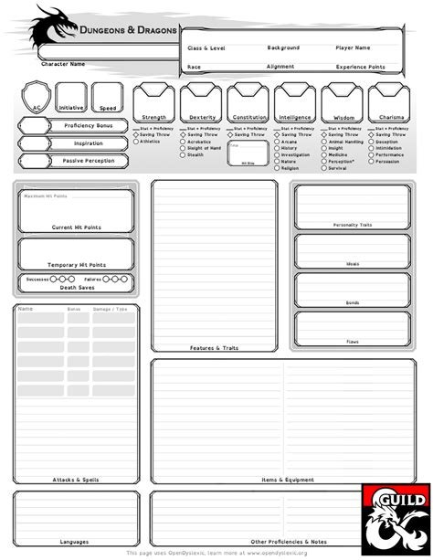character generator data template xml dyslexia assistive character sheet dungeon masters guild