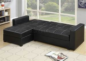 F7894 adjustable sectional sofa in black faux leather by boss for Small spaces sectional sofa black faux leather