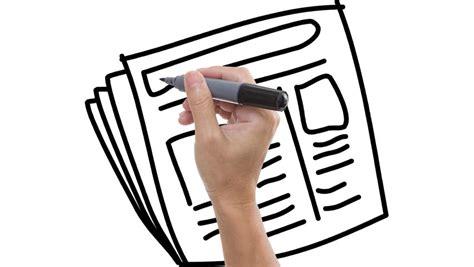 Man Sketching Newspaper On Whiteboard Stock Footage Video