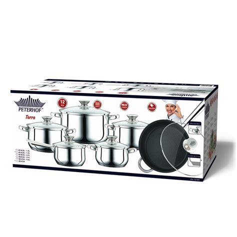 batterie de cuisine en inox peterhof ph 15799 batterie de cuisine en inox s s 12pcs