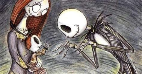 A Nightmare Before Christmas' Jack And Sally With Baby