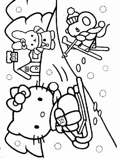 Coloring Winter Pages Snow Kitty Hello Pages11