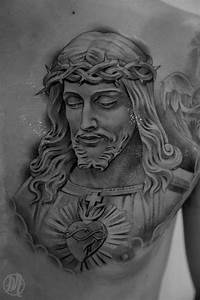 Black And Grey Jesus Tattoo On Man Chest By Miguel Ochoa