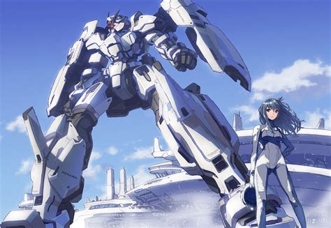 Anime Mecha Wallpaper - robots mecha blue hair skyscapes 1598x1105