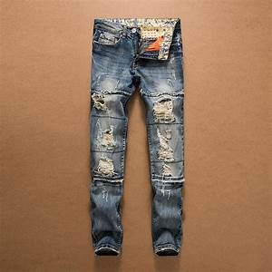 2018 New Arrival Fashion Mens Holes Distressed Biker Jeans Brand Straight Cut Up Denim Pants For ...