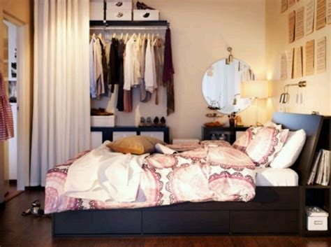 bedroom with open closet apartment ideas