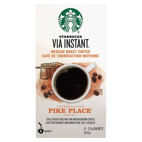 This coffee was designed by starbucks® to be an all around smooth and rich coffee with hints of cocoa and toasted nuts. VIA Instant Pike Place Starbucks 8 ea delivery | Cornershop - Canada