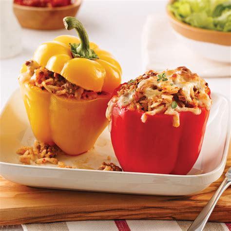 cuisine poivron poivrons farcis au boeuf yogourt et tomates séchées