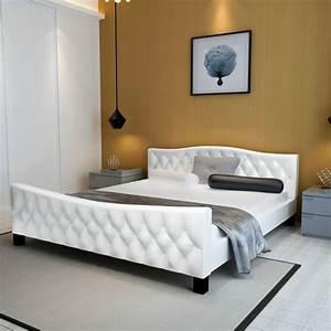 Lit En 180 : acheter luxueux lit en similicuir 180 x 200 cm blanc pas cher ~ Teatrodelosmanantiales.com Idées de Décoration